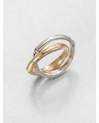John Hardy Bamboo 18K Yellow Gold & Sterling Silver Interlocked Band Ring - Lyst