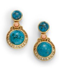 Judith Leiber - Turquoise Coral Crystal Cabochon Earrings - Lyst