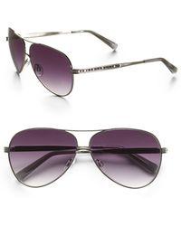 Judith Leiber Channel Metal Aviator Sunglasses - Purple