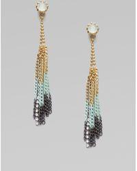 Juicy Couture Fringe Hoop Earrings - Metallic