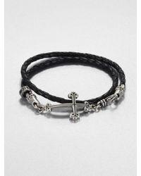 King Baby Studio Cross Doublewrap Leather Bracelet - Lyst