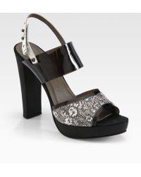 L'Agence Lauren Lizard Platform Sandals - Black