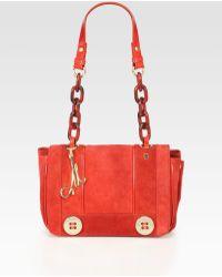 Milly Sophia Suede Leather Shoulder Bag - Lyst