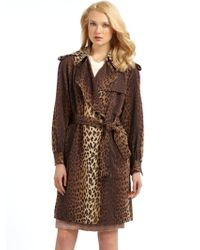 Moschino Leopard Print Trench Coat - Lyst