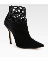 Oscar de la Renta Suede and Patent Leather Ankle Boots - Lyst