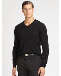 Ralph Lauren Black Label Cashmere V-Neck Sweater - Lyst