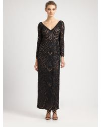 Sue Wong Beaded Lace Gown - Lyst