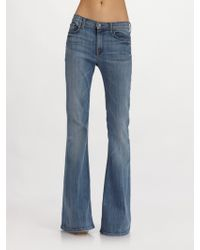 7 for all mankind The Bell Bottom Jean in Blue | Lyst