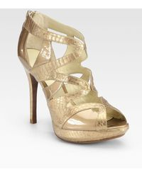 Alexandre Birman Leather and Watersnake Gladiator Sandals - Lyst