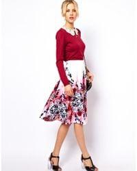 ASOS Collection Midi Skirt in Oriental Print white - Lyst