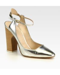Chloé Metallic Leather Slingback Pumps - Lyst