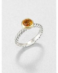 David Yurman - Citrine 18k Gold Sterling Silver Ring - Lyst