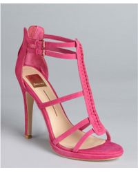 Dolce Vita Orchid Suede Camila Cage Heel Sandals - Lyst