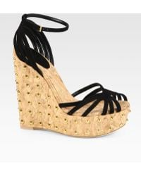 Gucci Suede Studded Cork Wedge Sandals - Lyst