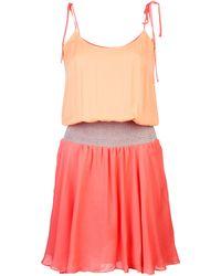 Halston Heritage Colorblock Dress - Lyst