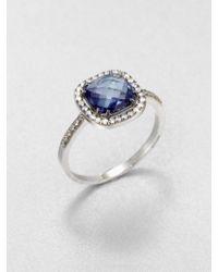 KALAN by Suzanne Kalan - English Blue Topaz, White Sapphire & 14K White Gold Cushion Ring - Lyst