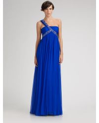 Notte by Marchesa Embellished Oneshoulder Silk Chiffon Gown - Lyst