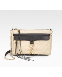 Rebecca Minkoff Ostrich embossed Leather Clutch - Lyst