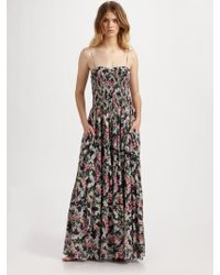Rebecca Taylor Smocked Floral Maxi Dress - Lyst