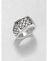 Scott Kay Sterling Silver Matte Basketweave Ring - Metallic