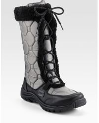 Ugg Shearling Trimmed Laceup Boots - Lyst