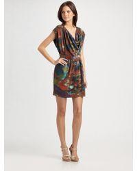 Catherine Malandrino Printed Silk Cowlneck Dress - Lyst