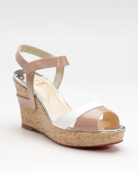 Christian Louboutin Carteron Patent Leather Wedge Sandals - Lyst