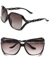 Gucci | Square Bamboo-trim Sunglasses | Lyst
