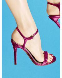 Kors by Michael Kors Mikaela Metallic Snakeskin Sandals - Purple