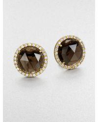 Mija - Smoky Topaz & White Sapphire Button Earrings - Lyst