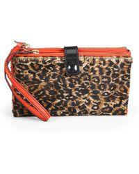 Olivia Harris | Leopard Haircalf Foldover Clutch | Lyst