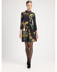 Oscar de la Renta Bijou Print Silk Dress - Lyst