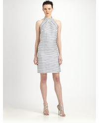 Theia Striped Cocktail Dress - Lyst