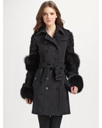 Burberry Fox-trimmed Wool-cashmere Coat - Lyst