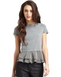 Cut25 by Yigal Azrouël Speckled Knit Sweater with Silk Peplum - Gray