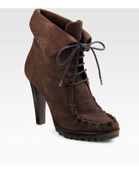 Diane von Furstenberg Jameson Lace Up Suede Ankle Boot - Lyst
