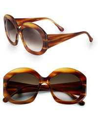 Elizabeth and James Fenway Round Oversized Acetate Sunglasses - Brown