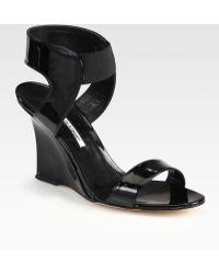 Manolo Blahnik Pepewe Patent Leather Wedge Sandals - Black