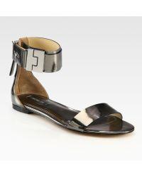 Rachel Zoe Gladys Metallic Leather Ankle Strap Sandals - Lyst