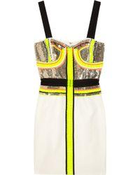 Sass & Bide Stripe Effect Embellished Silkblend Dress - White