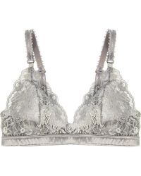 Stella McCartney Bonnie Sizzling Lace and Satin Softcup Bra - Gray