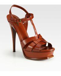 Saint Laurent Ysl Tribute Platform Sandals - Lyst