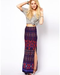 ASOS Collection Asos Maxi Skirt in Aztec Print multicolor - Lyst