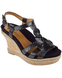 Earthies® Corsica Corkwrapped Snakeembossed Leather Wedge Sandals - Lyst