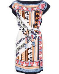 MSGM Aztec Print Silk Dress - Lyst