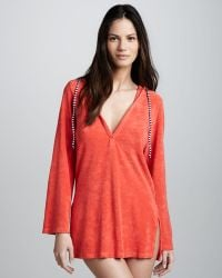 Splendid Terry Hooded Tunic Coverup - Lyst