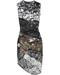 Aminaka Wilmont - Printed Draped Satin Jersey Dress - Lyst