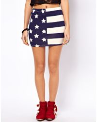 ASOS Collection Mini Skirt in Stars and Stripes Print - Lyst