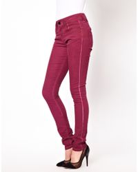 ASOS - Coated Skinny Jeans in Damson - Lyst
