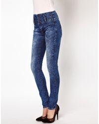 ASOS - Asos High Waist Corset Skinny Jeans in Mottled Vintage Wash - Lyst